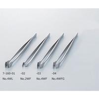 アズワン フラットピンセット No.4WL 幅広 特殊鋼 1本 7-160-01 (直送品)