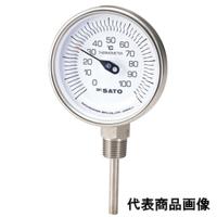 佐藤計量器製作所 バイメタル温度計 BM-S-90S (0〜100℃、L=50mm、 R(PT)1/2) 1本 (直送品)