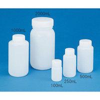 ニッコー 樹脂製広口ボトル フッ素ガスコーティング容器 φ31.5×φ63×132mm 250mL JFW-250 1本 3-7328-02 (直送品)