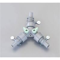 esco(エスコ) 内径15-18mm三方コック付継ぎ手セット EA124LH-11A 1セット(4個) (直送品)