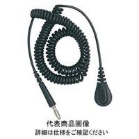DESCO コード、コイル式、黒、6.10m、4mmバナナジャック 09682 1セット(10個入)  (直送品)