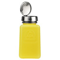 DESCO 静電気拡散性ボトル、黄色、ワンタッチ、HDPE、180cc 35276 1セット(10個入)  (直送品)